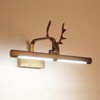 Полностью медная настенная лампа с головой оленя, фары для отеля, спальни, ванной комнаты, настенный светильник, бра, тщеславие, светильник,