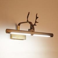 Полный Медный голова оленя американские зеркальные фары для отеля спальня ванная комната свет Настенный бра тщеславие свет лампы домашний