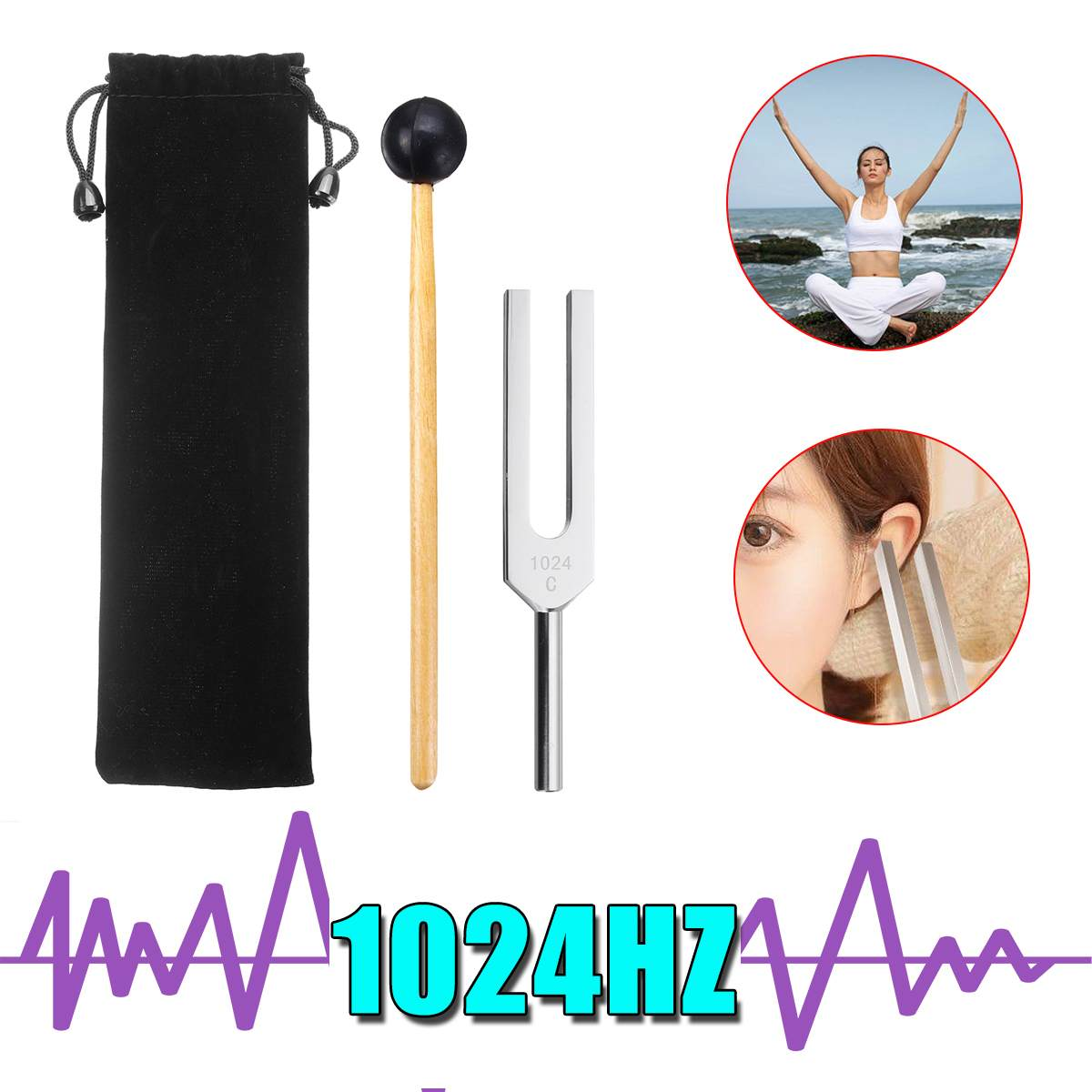 1024HZ алюминиевая медицинская тюнинговая вилка с Malle медицинский уход за больной системой тестирование Исцеление звук вибрационная терапия+ сумки для хранения
