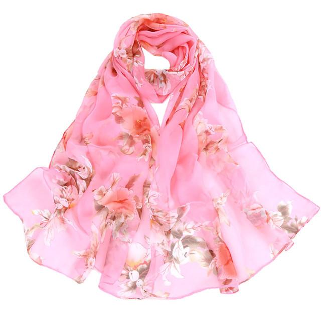 Women's Peach Blossom Printing Long Soft Scarf