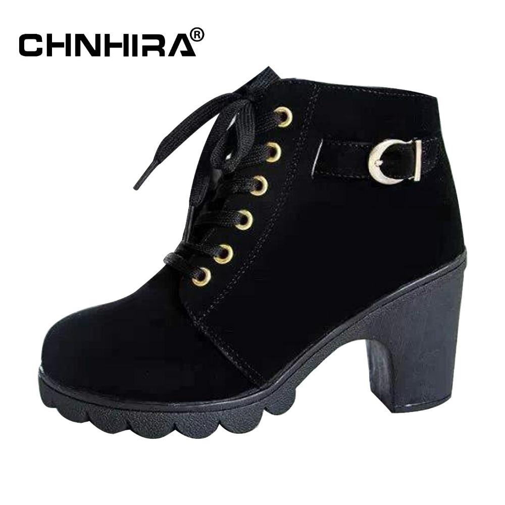 CHNHIRA Women High Heel Ankle boots Winter Vintage ladies Motorcycle Snow botas Fashion Footwear Warm Heels Shoe#CH2013