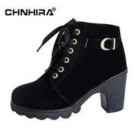 CHNHIRA Women High Heel Ankle Boots Winter Vintage Ladies Motorcycle Snow Botas Fashion Footwear Warm Heels