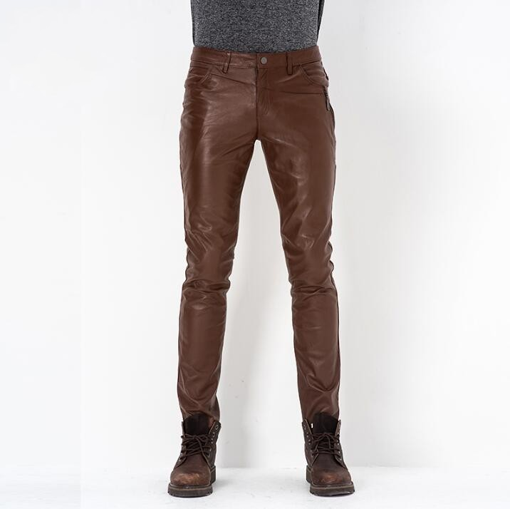FL&AEVVE Leather Pants Korean Men's Business Casual Slim