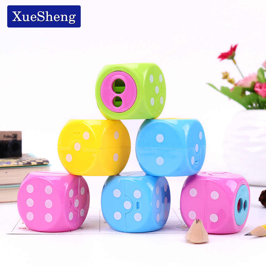Double Holes Plastic Pencil Sharpeners Candy Color Standard Pencil Cutting Stationery Student Prize School Supplies