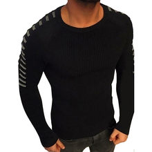 Men's Sweater Long Sleeve Solid Mens Sweaters Winter warm black white Casual regular fashion Pullover Tops Blouse 18DEC11 2018(China)