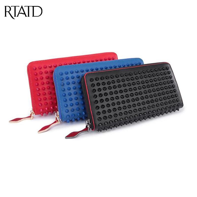 RTATD New color rock stud women genuine leather wallet classical brand design lady standard wallets easy clutch hand bag B011