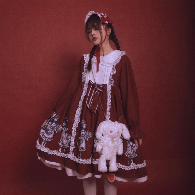 Victorien femmes vente de fleurs Alice Cosplay Lolita poupée col dentelle garniture Vintage fête arc conception femmes robes