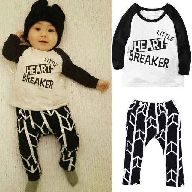 3bd40616 2Pcs/set children clothing Cute Toddler Baby Boy Girls Funny Tops T-shirt+Pants  Leggings Outfits Set Casual