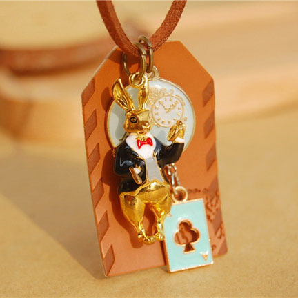 Anime Poker Rabbit Pendant Necklaces Alice in Wonderland Bunny Hare Envelope Long Brown Leather Cord Necklaces nxl012
