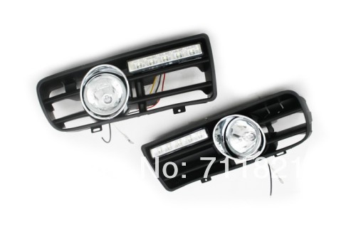 Front Fog Light Kit With LED Day Time Running Light For VW Golf MK4 bumper grille front fog light kit with led surround for vw golf mk4