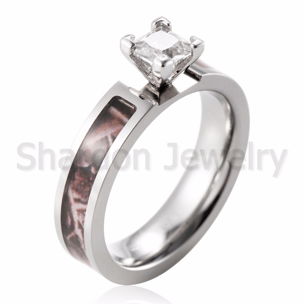 SHARDON Realtree Camo Engagement Wedding Ring Set Titanium 4 Prong