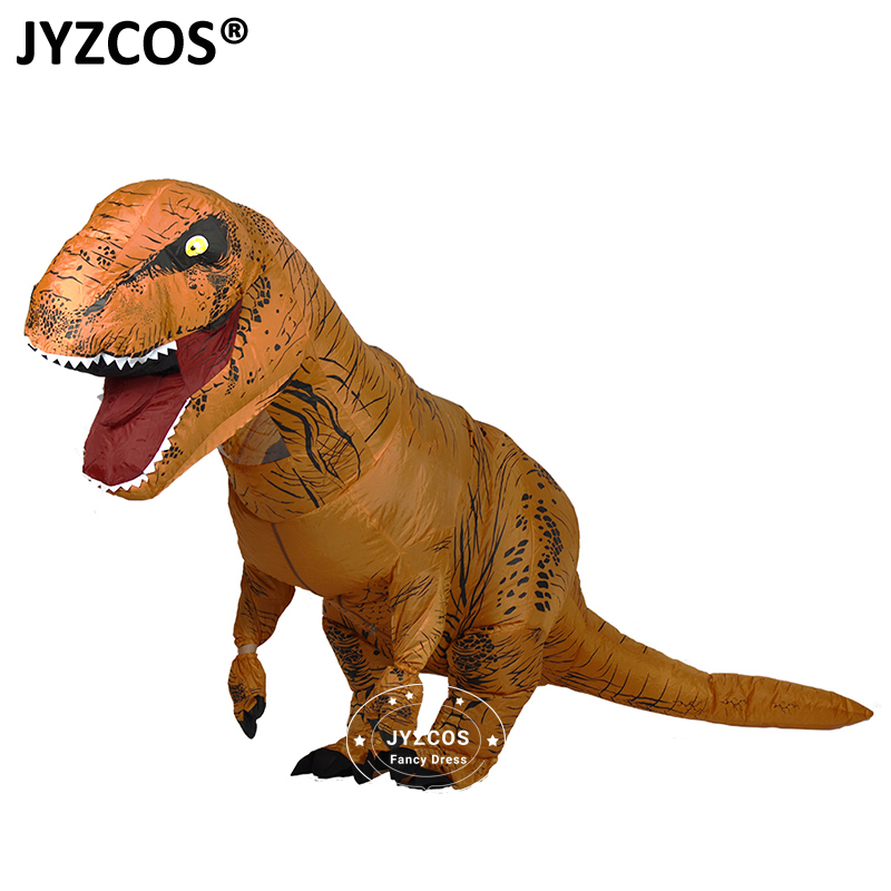 jyzcos inflatable dinosaur t rex costume for adult men women jurassic world park blowup halloween party costume christmas outfit