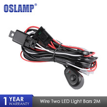 Oslamp 2 m Auto Led-lichtbalk Draad Kabelboom Relais Loom Kabel Kit Zekering voor Auto Rijden Offroad Led Werk Lamp 12 v 24 v 40A(China)