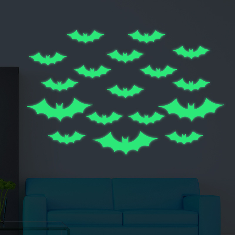 Free Shipping Glowing Wall Decals Nordic Style Shining Bat Halloween Stickers For Kid`s Room Livingroom Dining Hall And Shops