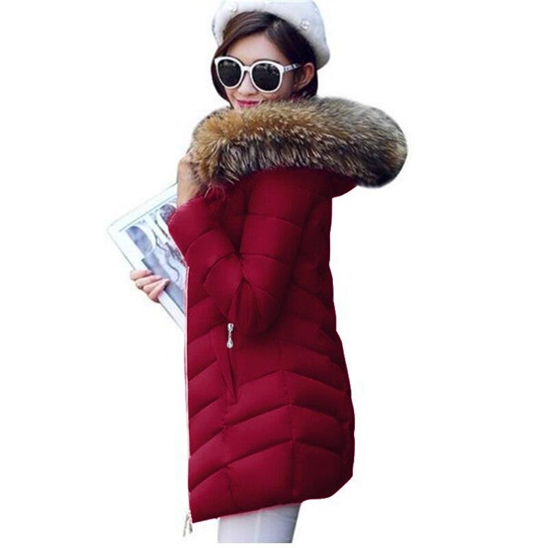 16 CM Echtpelzkragen Parka Unten Baumwolljacke 2017 Winter jacke Frauen Dicke Schneeschuhe Verschleiß Wintermantel Dame Kleidung Weibliche jacke