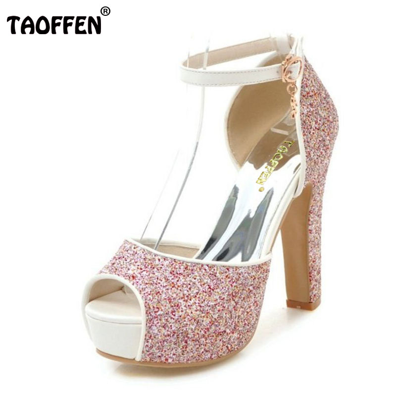 TAOFFEN Size 31-43 Sexy Bling Women High Heels Sandals Open Toe Fashion Platform Summer Shoes Woman Party Wedding Footwears taoffen women shoes women sandals wedge heels platform summer shoes leopard slip on slippers trend fashion shoes plus size 33 43