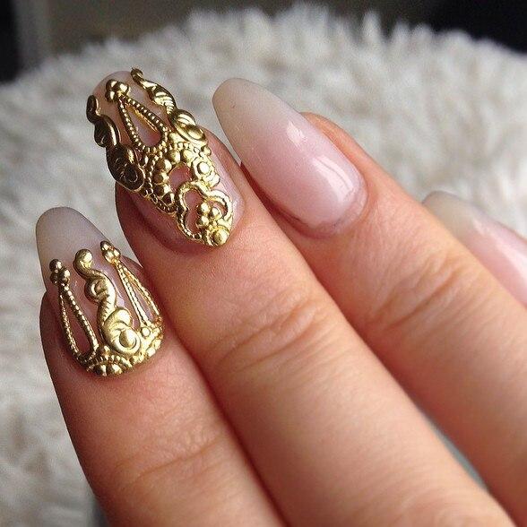 10pcs gold &silver 3D alloy Nail art s