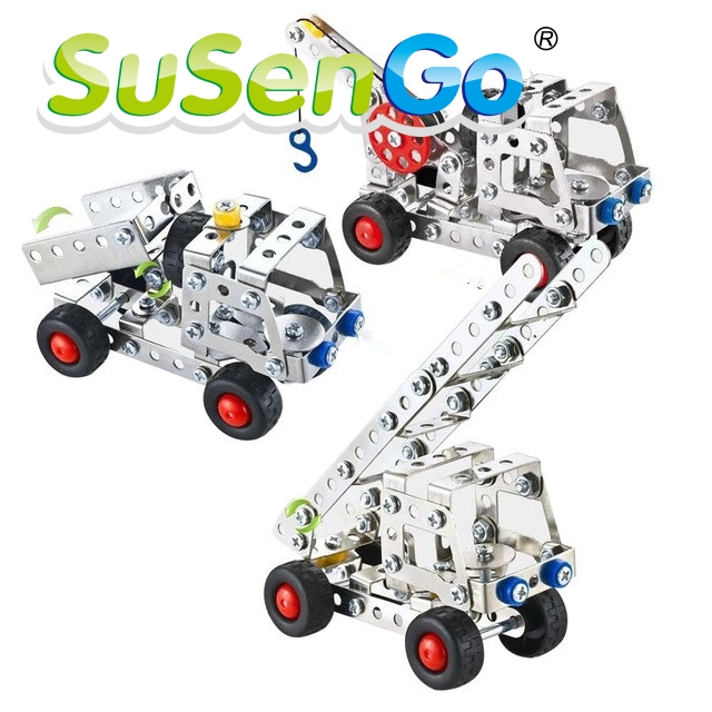 SuSenGo 137Pcs Iron Commander Metal Construct Fantastic Model 3D Assembled Recovery Vehicle of Lift Truck Car DIY Toys With Tool children best gift fashion sex red color diy metal supper car assembled model toys