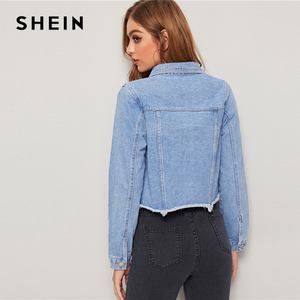 Image 2 - SHEIN Blauw Verzwakte Edge Flap Pocket Lente Denim Jas Jas Vrouwen 2019 Herfst Streetwear Single Breasted Dames Casual Jassen