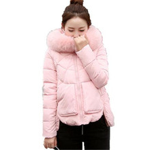 Womens Jackets Coats 2016 New Big Fur Collar Hooded Padded Jacket Coat Winter Thicken Cotton Jacket  Slim Outerwear Parka A1992