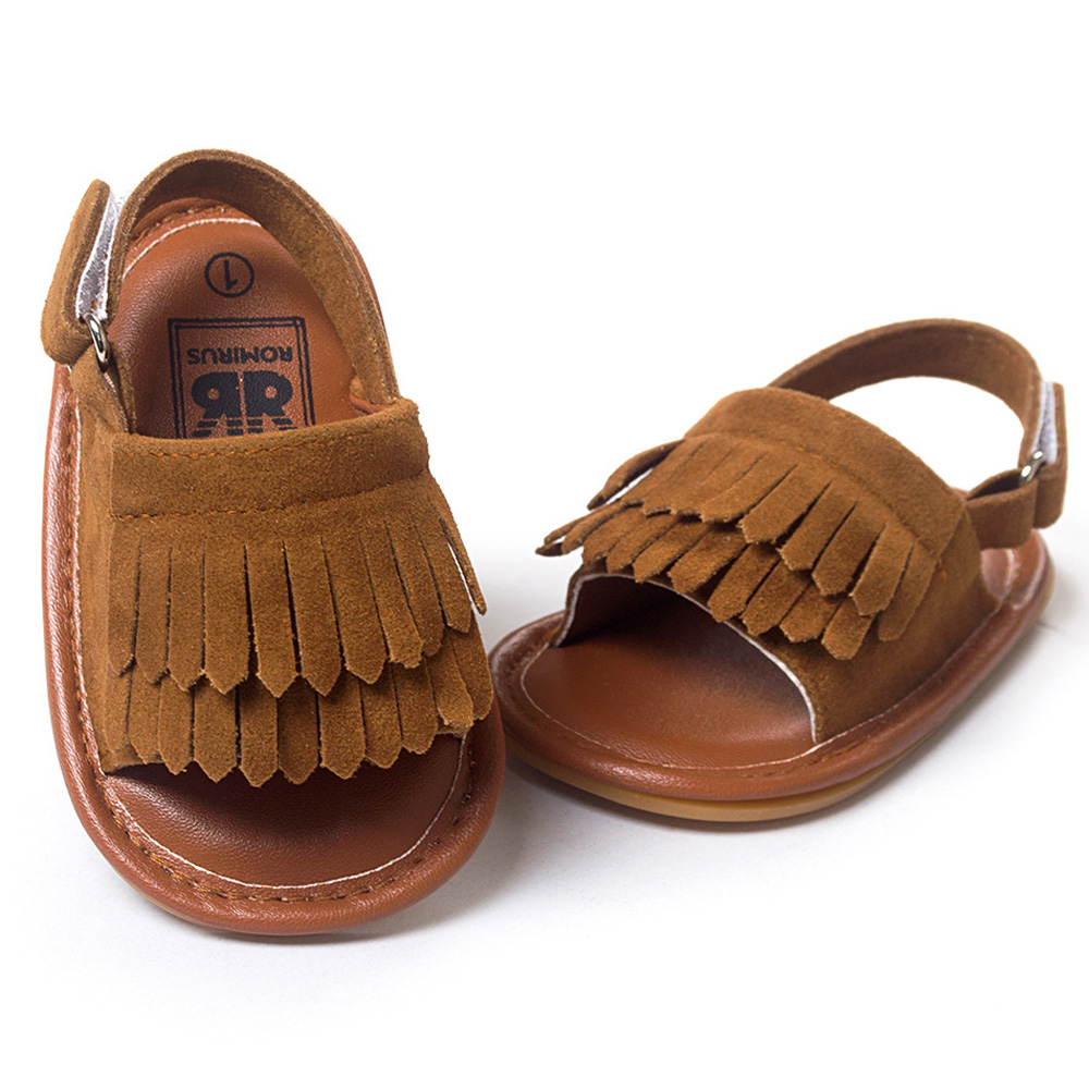 ROMIRUS Baby Shoes Sandals Casual Fashion PU Tassel Sandals For Children kids Girls Boys – Brown