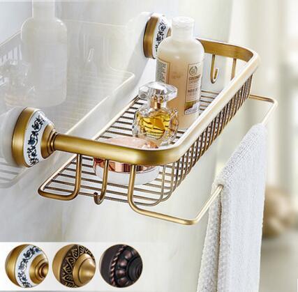 High quality total brass material antique bathroom shelves with towel bar bathroom shampoo holder bathroom accessories цена и фото
