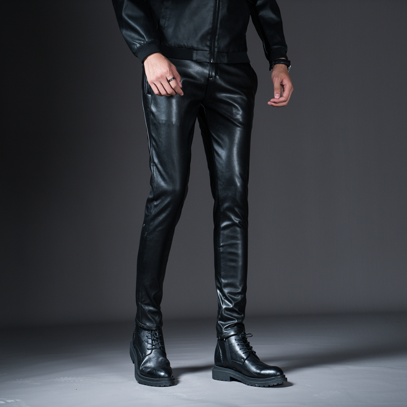 HTB1BoSuXh rK1RkHFqDq6yJAFXa4 New Winter Mens Skinny Biker Leather Pants Fashion Faux Leather Motorcycle Trousers For Male Stage Club Wear