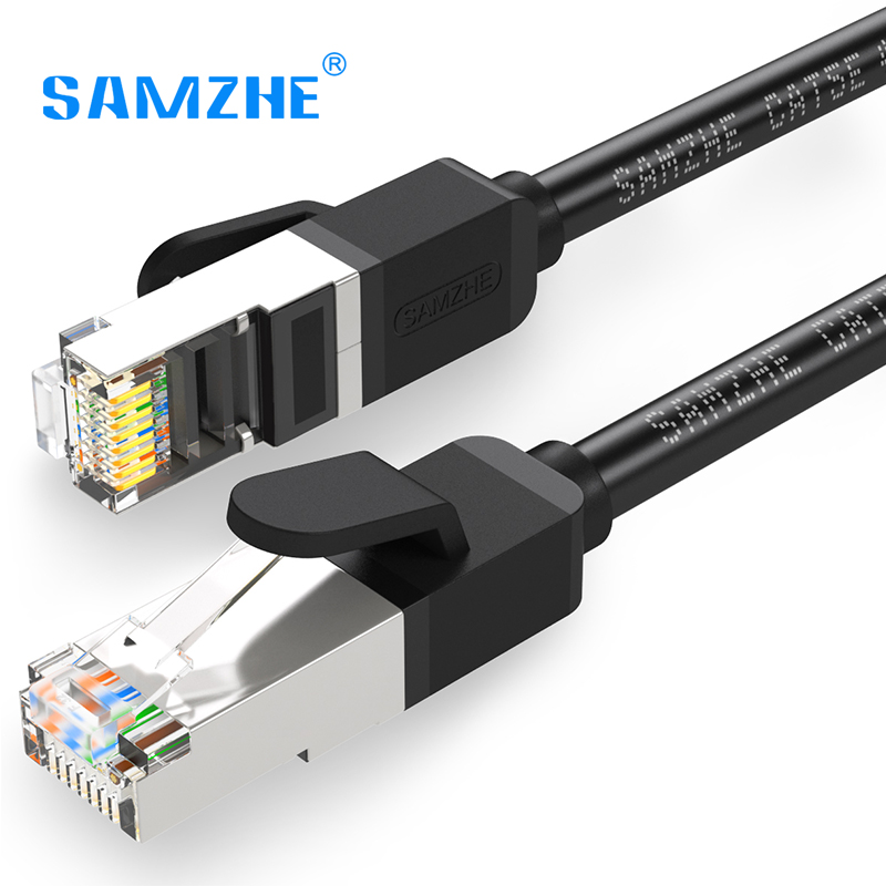 samzhe cat5e ethernet lan cable rj45 with gold plated pins metal connector for internet. Black Bedroom Furniture Sets. Home Design Ideas