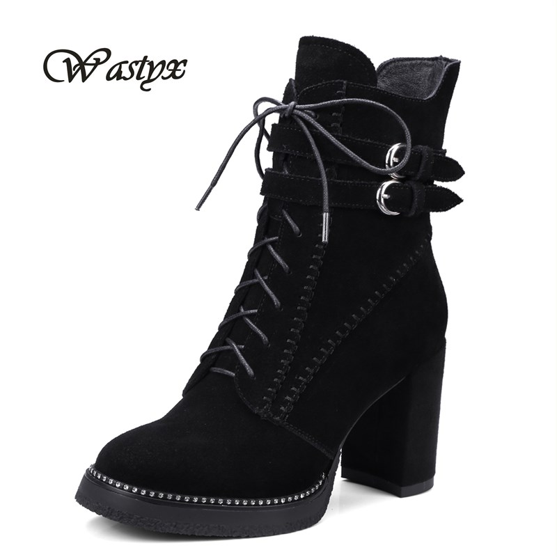 Wastyx 2017 new women boots high heels ankle boots fahsion lace up shoes women hoof heel footwear winter warm Martin Boots wastyx 2017 autumn winter women ankle boots high heels lace up leather double buckle platform warm short booties big size 34 50