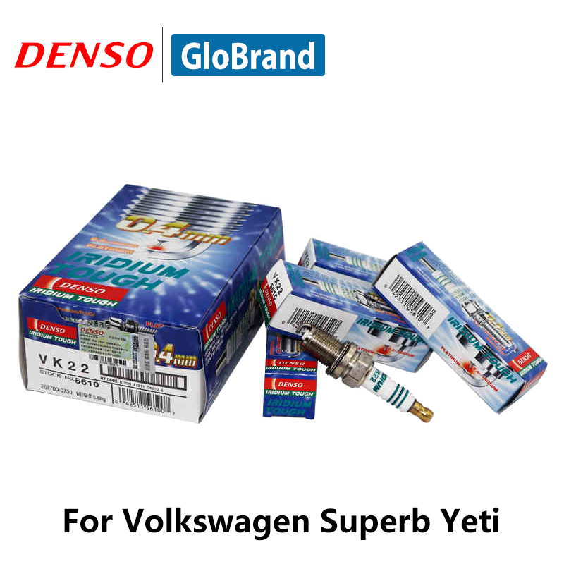 4pieces/set DENSO Car Spark Plug For VW Bora Tiguan Touran Lavida CC Golf 6 Superb Yeti Audi A5/S5/Q5/A4 Iridium Platinum VK22 4pieces set denso car spark plug for nissan gtr g25 nissan teana m37 double iridium fxe24hr11