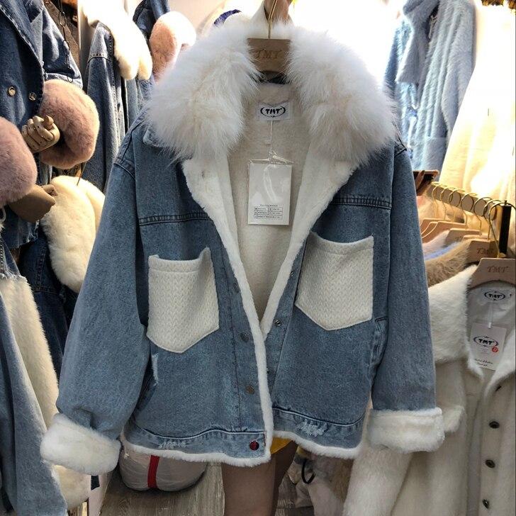 be92cdaf155f Hiver Denim Fille Manteau Haute Lapin De Lâche c Mode Femmes Col Veste  Manteaux Doublure Couture Fourrure Bomber Bleu Chaud 5ccP6AWFp