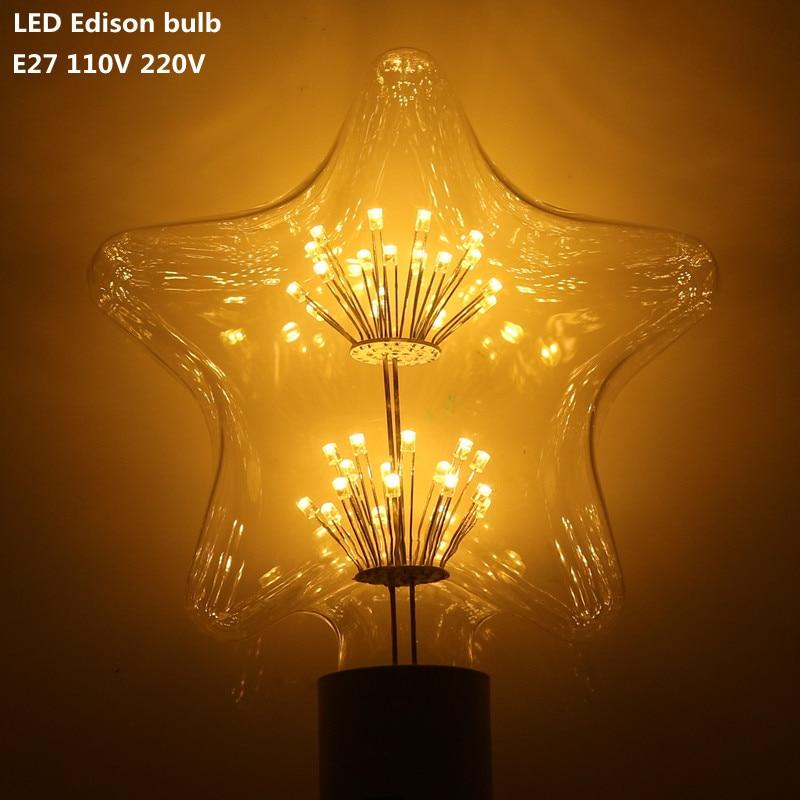DHL 10X  Edison Bulbs E27 110V 220V 5W Incandescent Filament Carbon Bulb pentagram Retro Edison Light led light For Pendant Lamp 5pcs e27 led bulb 2w 4w 6w vintage cold white warm white edison lamp g45 led filament decorative bulb ac 220v 240v