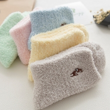 PEONFLY Embroidery CAT Deer Thickening women cotton Lovely Plush Keep Warm Sleep ladies funny cute Socks