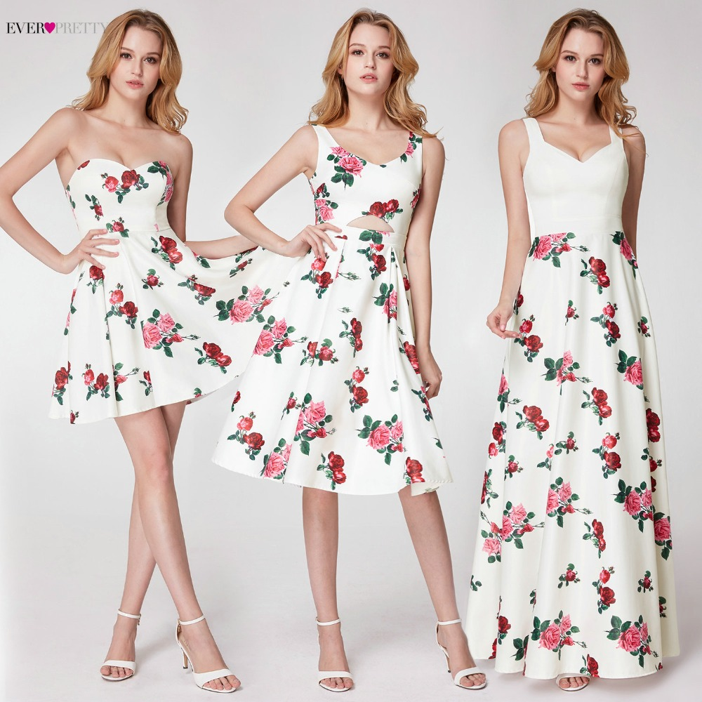 Ever Pretty Prom Dresses 2018 Flower Printed Beach Vocation Dresses A line Sleeveless Sweetheart Party Occasion