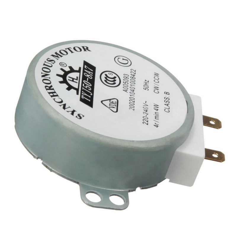 1PC AC 220V-240V 50Hz CW/CCW Microwave Turntable Turn Table Synchronous Motor TYJ50-8A7 D Shaft 4 RPM VEJ20 P0.11
