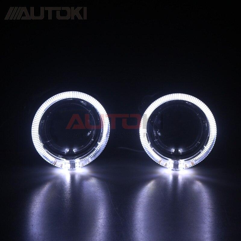 Autoki Mini lentille xénon H1 Mini projecteur phare 2.5 lentille en métal + petit E Style lumière LED lincards pour H4 H7 Auto lampe rénovation