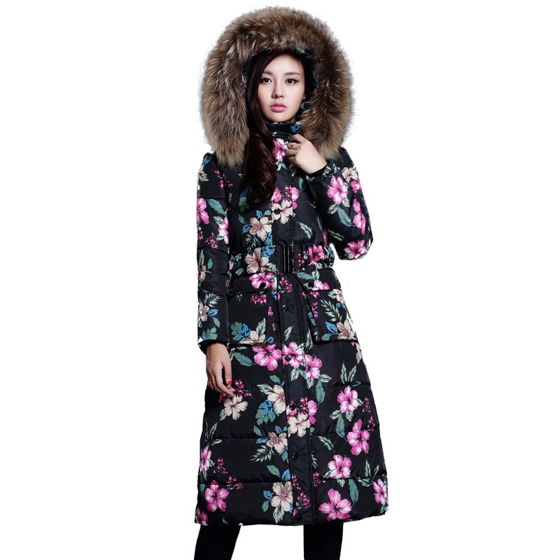 Parkas Winter Women 2017 Elegant Long Slim Quilted Jacket Female Down Cotton Padded Coat Winter Warm Print Floral Outwear fashion long thick warm down cotton jacket women winter down jacket long coat parkas thickening female warm cotton coat outwear