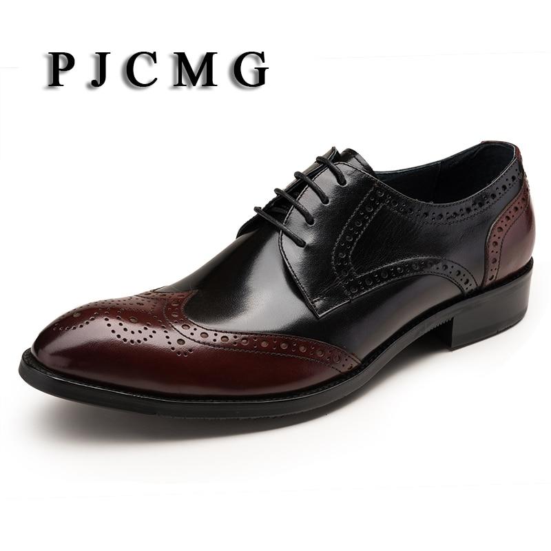 PJCMG brytyjski styl mody mężczyźni luksusowe Zapatos Hombre wino czerwone szpiczasty Toe Oxford Lace up przystojny mężczyźni Wedding Party buty w Oxfordy od Buty na  Grupa 1