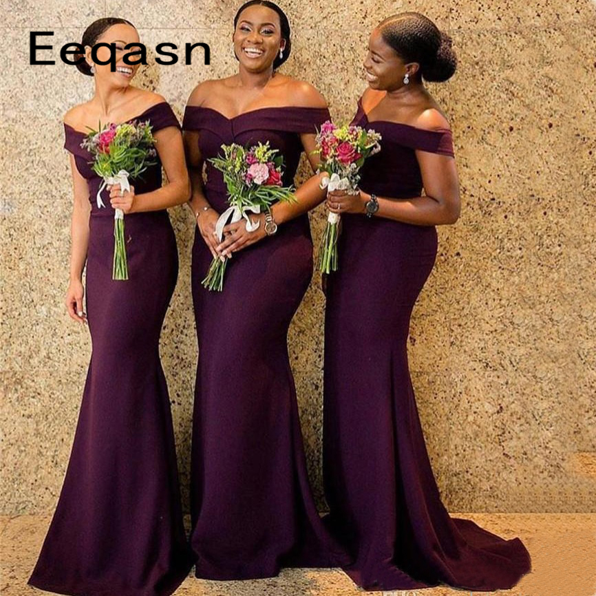 Wholesale Burgundy Mermaid Bridesmaid Dresses 2020 Long Brides Maid Dress Maid Of Honor Dress Long Formal Gown Under 100