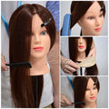 22inch Cosmetology 90% Real Hair Mannequin Training Maniqui Head with Holder For Hairdresser Hairdressing Doll Manikin B20