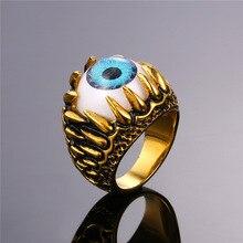 claw turkish eye Ring Stainless Steel  Blue Eye ring