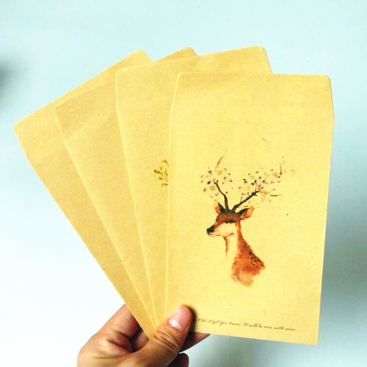 10pcs/lot Kawaii Forest Deer Series Kraft Paper Envelopes Nice Gift Envelope For Wedding Invitation Small Envelopes For Postcard