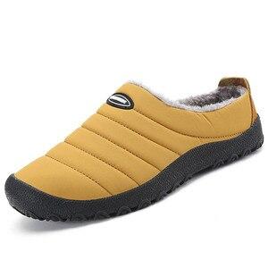 Image 1 - Winter Men Shoes Warm Plush Slippers Men Outdoor Indoor Home Shoes Unisex Flip Flops Non slip Slides Casual Mule chanclas hombre