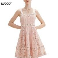 RUGOD Lace Hollow Out Dress Pink Black Crochet Ruffle Vestido Sleeveless Ball Gown Lady Pinafore Dress High Quality High Waist