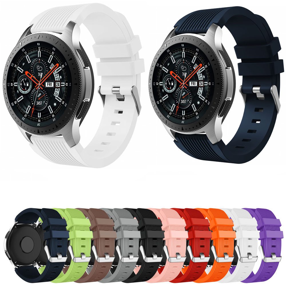 Silicone Watchband For Samsung Galaxy Watch 46mm Version SM-R800 Striped Rubber Replacement Bracelet Band 22mm Width Strap