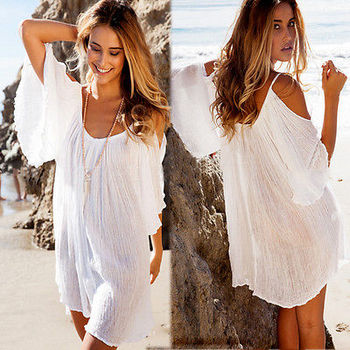 New Woman Beach Dress swimwear cover up Sexy Swimwear Summer White Beach Cover up Dress Swimsuit Katfan Tunic Hotsale