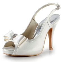 EP2042-IP Silber Peep Toe Bow Pumps Hohe Sandalen Satin Pumps Fashion Frau Schuhe