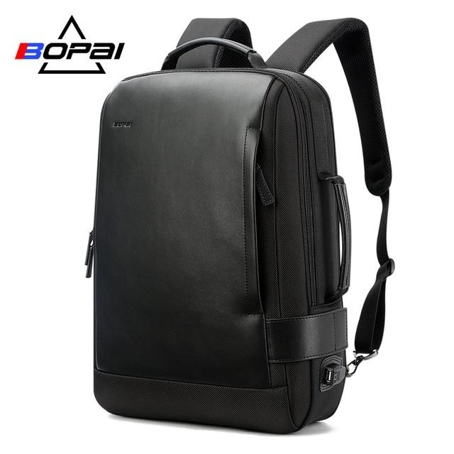 15.6 Inch Notebook Backpack Black Contractive Leather Backpack for Men USB Charging Male Travel Backpack Nylon mens rucksacks