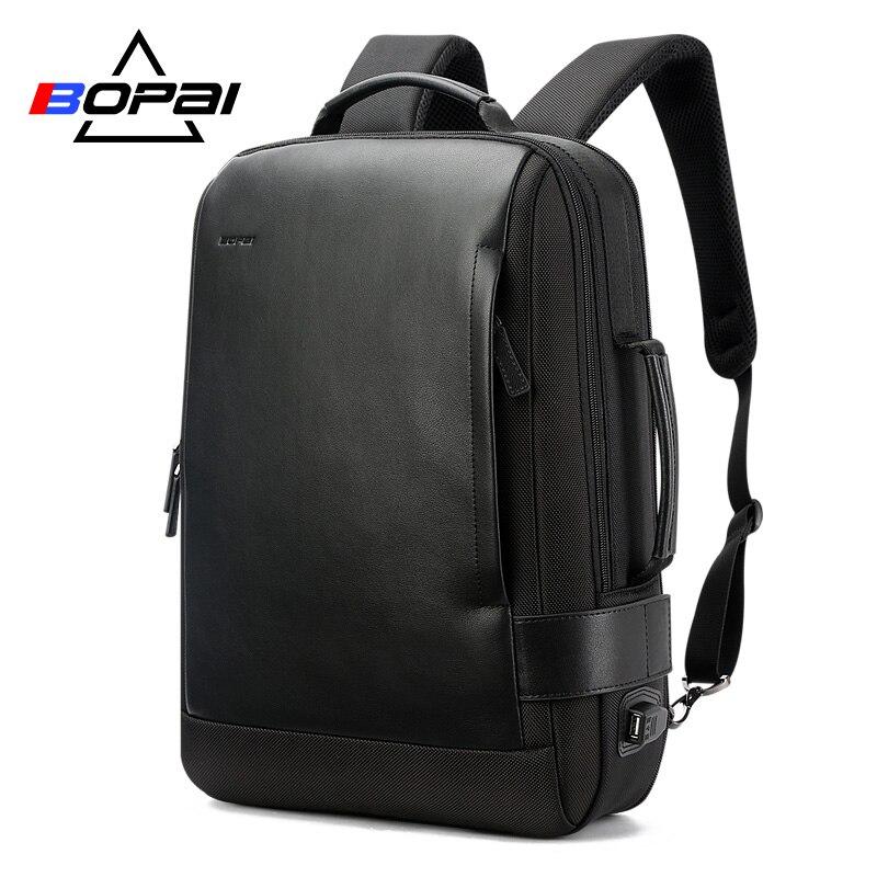 Portátil de 15,6 pulgadas mochila negro Contractive Mochila de cuero para hombres de carga USB hombre mochila de Nylon para mochilas