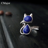 CMajor 925 sterling-silver-jewelry classical natural stone lapis lazuli jewelry adjustable cat rings for women Mother's Day Gift